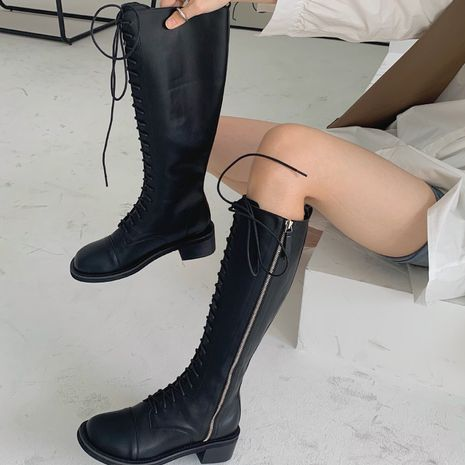 Hot selling fashion knee lace riding boots mid-tube boots flat elastic boots NHCA258875's discount tags