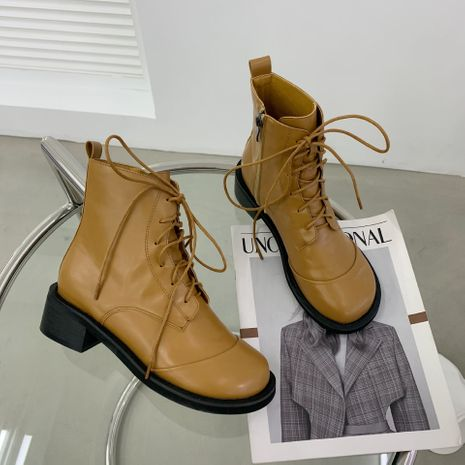 Hot selling fashion square head thick heel lace stitching back zipper boots NHCA258876's discount tags