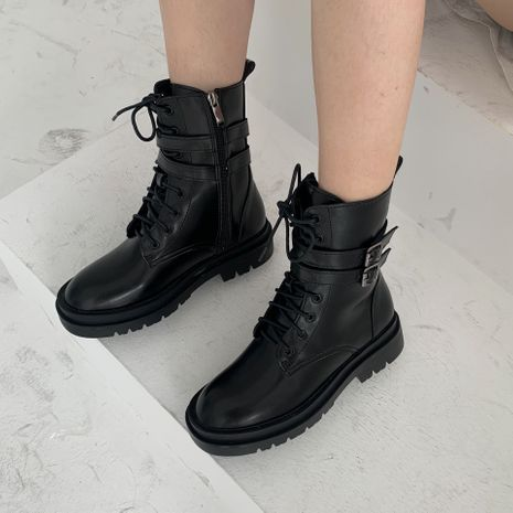 Hot selling fashion leather wedge lace-up ankle boots  NHCA258879's discount tags