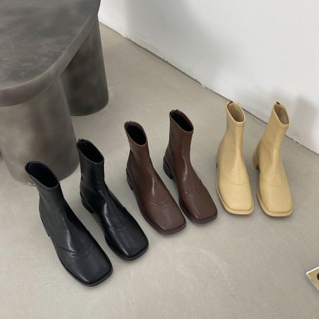 Hot leather square toe flat small short boots women spring and autumn single boots elastic socks boots NHCA258881's discount tags