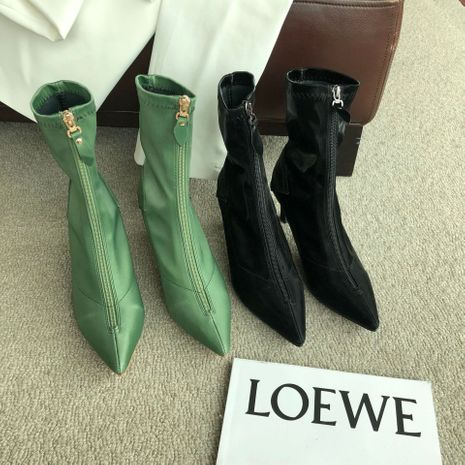Hot selling new fashion white mid-heel pointed kitten and short boots women NHCA258882's discount tags