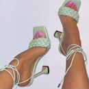 new womens shoes woven roman laceup wine glass highheel square toe sandals  NHSO258894