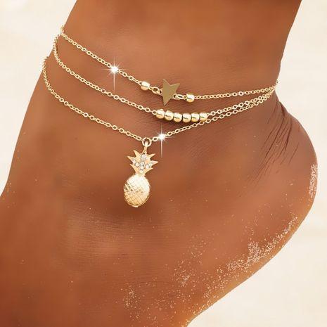 Ensemble de cheville d'ananas en or micro diamant de plage simple nouvelle chaîne de perles étoiles NHBQ258959's discount tags
