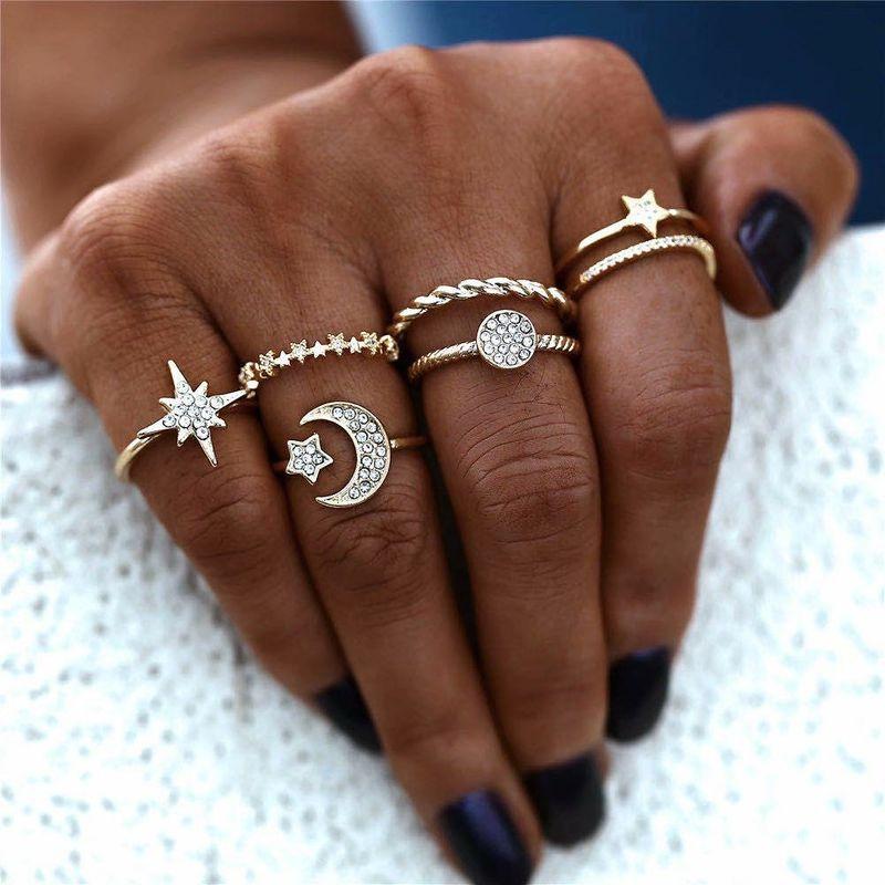 Hot selling fashion simple diamond moon star circle rings set NHBQ258940