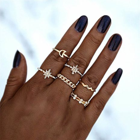 Hot selling fashion creative simple retro alloy star diamond rings set NHBQ258939's discount tags