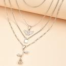 fashion multilayer key angel rose pendant necklace set for women wholesale NHAJ258969