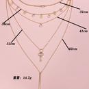 fashion full diamond key disc womens multilayer alloy necklace  NHAJ258970