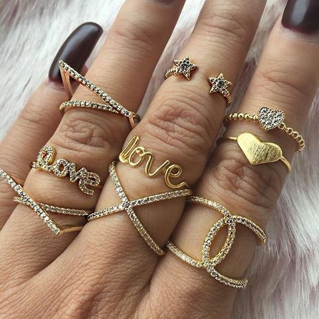 Fashion full diamond cross LOVE letter peach heart five-point ring combination set  NHAJ258971's discount tags