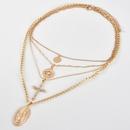 New Fashion Trend Cross Head Pendant Womens Multilayer Necklace Combination   NHAJ258973