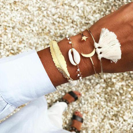Hot selling fashion natural shell leaf feather tassel star moon bracelet set wholesale NHAJ258974's discount tags