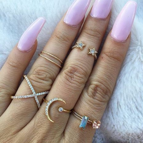 Fashion new trend full diamond five-pointed star moon cross women's ring set  NHAJ258975's discount tags