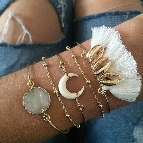 Hot selling fashion white crystal crescent fringed bracelet set  NHAJ258976's discount tags