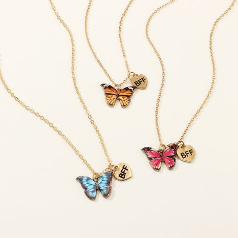fashion children's alloy drop oil butterfly pendant necklace set wholesale   NHNU258982's discount tags