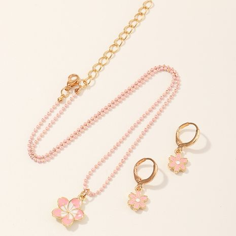 Hot selling fashion creative resin flower necklace earrings set  NHNU258990's discount tags