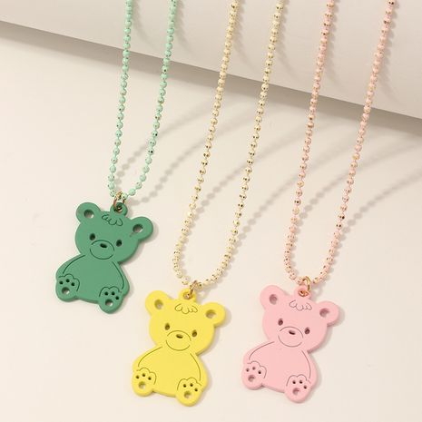 Hot selling children's necklace cute bear necklace  NHNU258991's discount tags