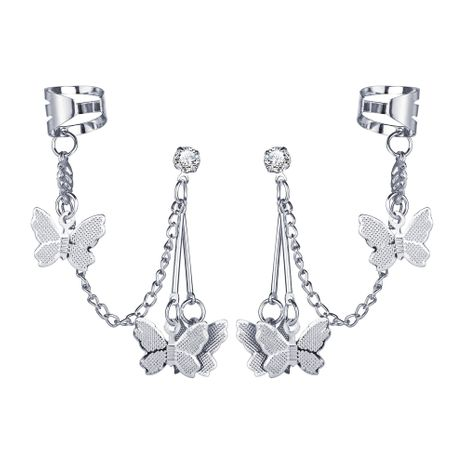 Hot selling alloy butterfly pendant  creative retro simple silver metal earrings NHYI259014's discount tags