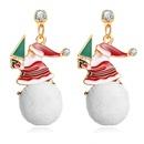 Santa Claus plush ball earrings creative retro Christmas earrings wholesale NHYI259017