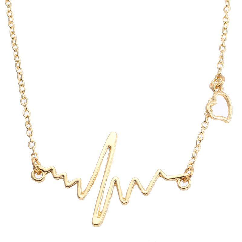 hotselling simple heart frequency heartbeat feeling pendant necklace for women wholesale NHYI259024