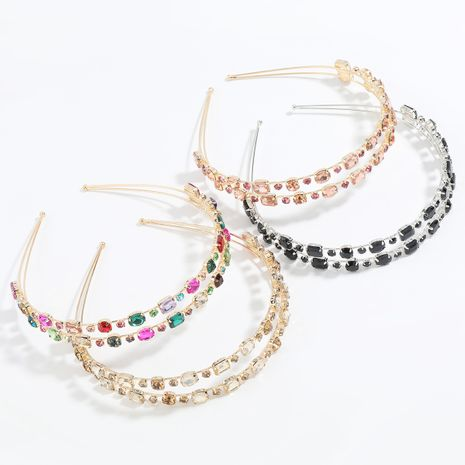 Hot selling fashion flash alloy diamond geometric glass diamond colored headband NHJE259030's discount tags