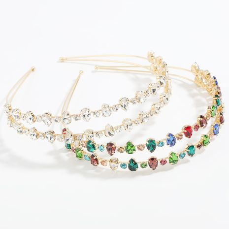 Fashion alloy diamond-studded round drop-shaped glass diamond double-layer headband NHJE259033's discount tags
