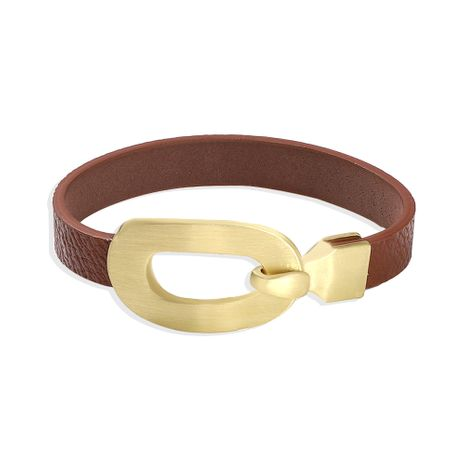 Hot selling fashion texture PU leather bracelet oval alloy buckle wild couple bracelet NHJQ259042's discount tags