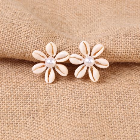 Hot selling fashion exaggerated shell flower pearl earrings NHJJ259044's discount tags