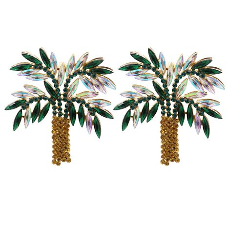 Hot selling diamond leaf  exaggerated palm tree earrings  NHJJ259045's discount tags