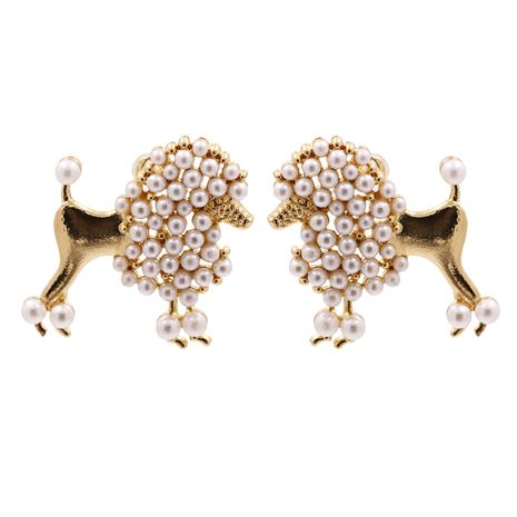 Hot selling creative pearl puppy animal earrings wholesale NHJJ259046's discount tags