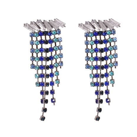 Hot selling fashion all-match diamond-studded tassel earrings wholesale NHJJ259047's discount tags