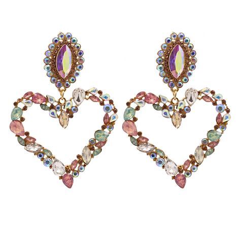 Hot selling fashion heart-shaped diamond earrings wholesale NHJJ259048's discount tags