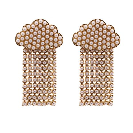 Hot selling fashion cloud pearl tassel geometric earrings wholesale NHJJ259049's discount tags