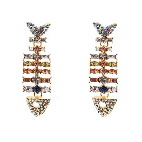 Hot selling exaggerated creative color diamond fish retro earrings wholesale NHJJ259051's discount tags
