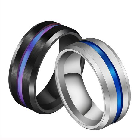 fashion simple 8MM groove brushed color titanium steel men and women 's ring wholesale  NHIM259083's discount tags