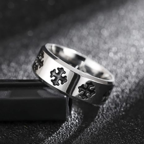 Hot-selling fashion new titanium steel cross flower ring wholesale NHIM259099's discount tags