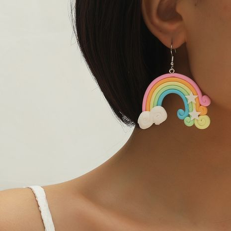 Hot selling sweet and cute girl heart fashion creative rainbow candy color earrings NHKQ259116's discount tags