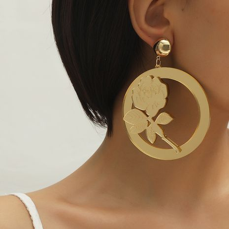 Fashion temperament hollow rose pendant wild metal round earrings   NHKQ259119's discount tags