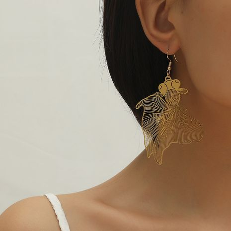 Fashion personality retro hollow goldfish pendant earrings NHKQ259118's discount tags