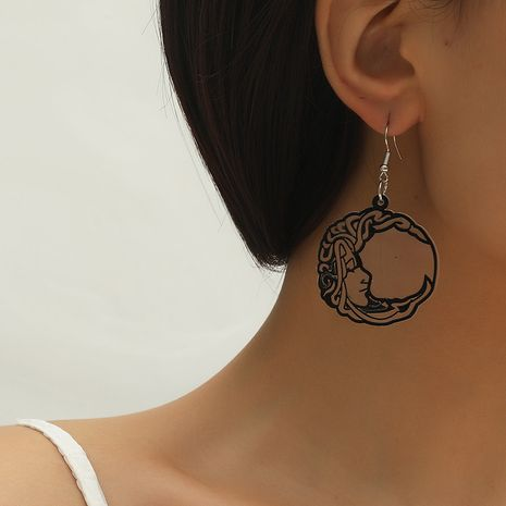 Fashion Simple Trend Moon Face pendant Earrings NHKQ259120's discount tags