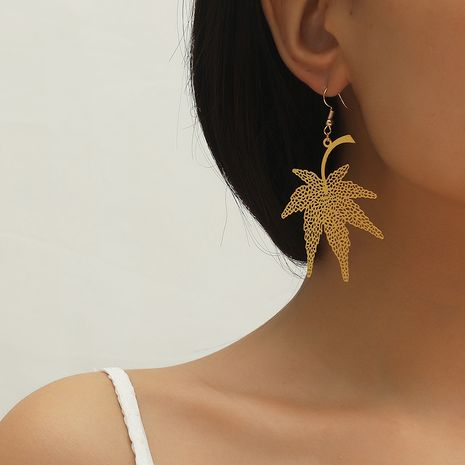 Hot selling fashion new leaf  creative hollow maple leaf earrings NHKQ259122's discount tags