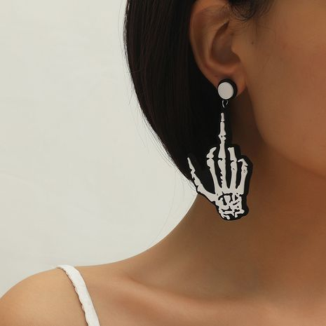 Hot selling fashion personality creative skull hand earrings wholesale NHKQ259126's discount tags