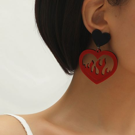 Hot selling fashion personality exaggerated hollow love flame earrings NHKQ259127's discount tags