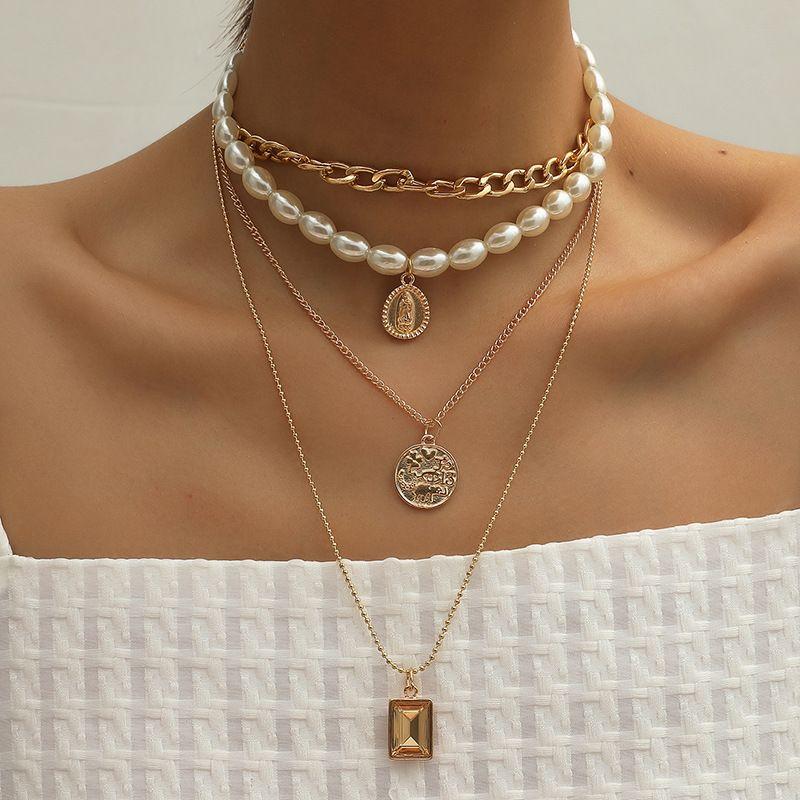 hot sale fashion retro round coin gemstone multi-layer new baroque trend  necklace  NHKQ259130