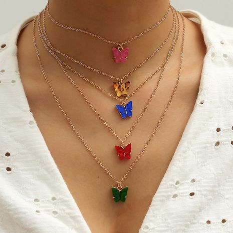Korean new hot sale niche butterfly fashion trendy compact fairy 5 piece necklace NHKQ259113's discount tags