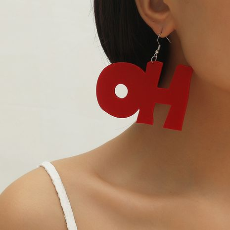 Hot selling fashion letter pendant exaggerated earrings wholesale NHKQ259132's discount tags