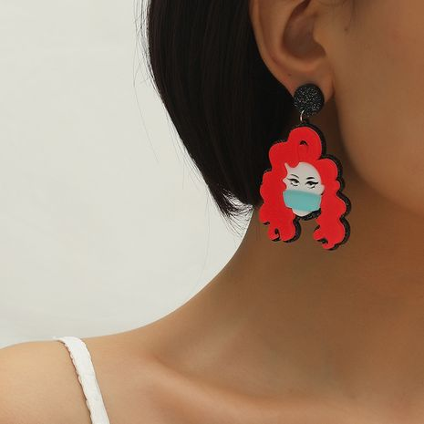 Hot selling fashion wearing mask pendant earrings wholesale NHKQ259134's discount tags