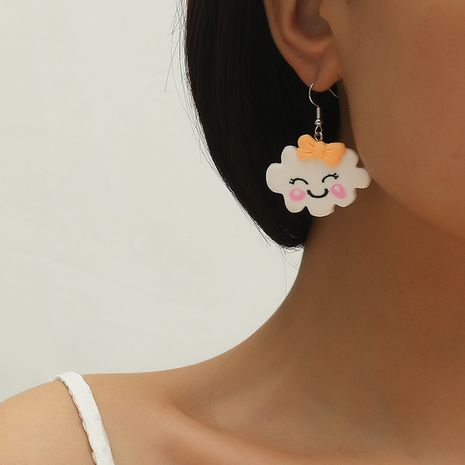 Hot selling fashion creative wild earrings cloud smiley resin earrings NHKQ259143's discount tags