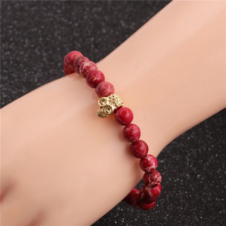 hot-selling fashion Halloween jewelry 8mm Emperor stone skull bracelet  NHYL259157's discount tags