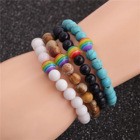 Seven Chakra Energy Turquoise Emperor Picture Stone Couple Bracelet  NHYL259160's discount tags