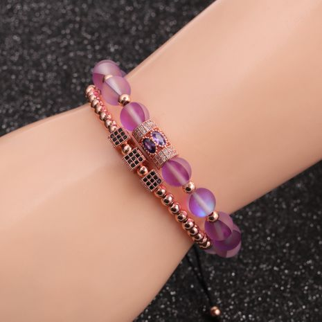 hot-selling micro-inlaid zircon cube moonstone water drop bracelet set NHYL259163's discount tags