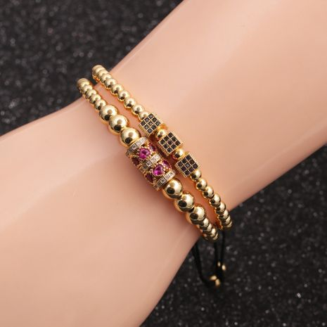 hot sale micro-inlaid zircon cube cylindrical love bracelet set wholesale NHYL259165's discount tags